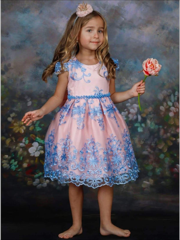 Girls Floral Lace Embroidered Dress - Girls Spring Dressy Dress
