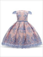 Girls Floral Lace Embroidered Dress - Pink / 3T/4T - Girls Spring Dressy Dress