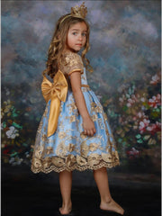Girls Floral Lace Embroidery Beaded Dress - Girls Spring Dressy Dress