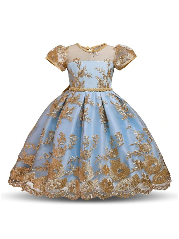 Girls Floral Lace Embroidery Beaded Dress - Light Blue / 3T/4T - Girls Spring Dressy Dress