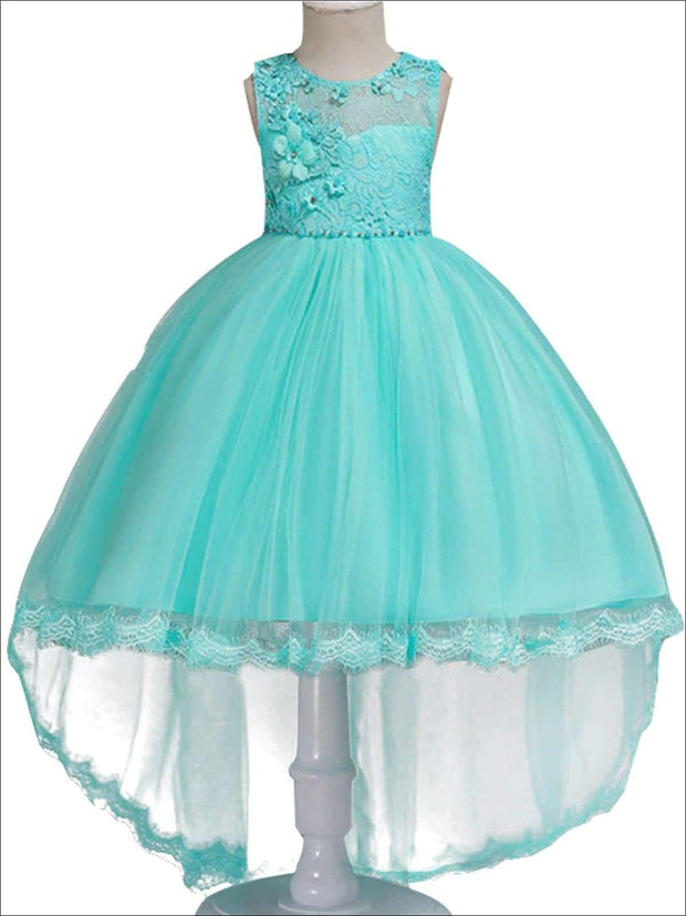 Girls Floral Lace Embroidery Hi-Low Tulle Special Occasion Dress - Mint / 3T - Girls Spring Dressy Dress