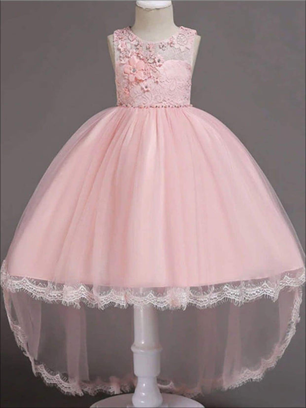 Girls Floral Lace Embroidery Hi-Low Tulle Special Occasion Dress - Pink / 3T - Girls Spring Dressy Dress