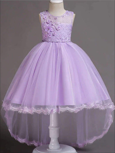 Girls Floral Lace Embroidery Hi-Low Tulle Special Occasion Dress - Purple / 3T - Girls Spring Dressy Dress
