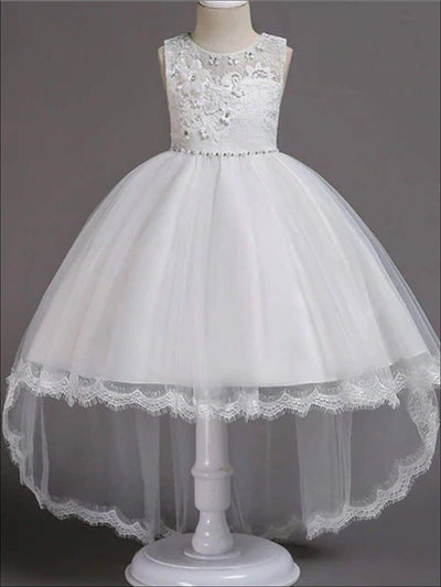 Girls Floral Lace Embroidery Hi-Low Tulle Special Occasion Dress - White / 3T - Girls Spring Dressy Dress