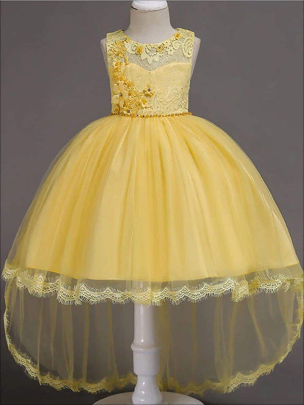 Girls Floral Lace Embroidery Hi-Low Tulle Special Occasion Dress - Yellow / 3T - Girls Spring Dressy Dress