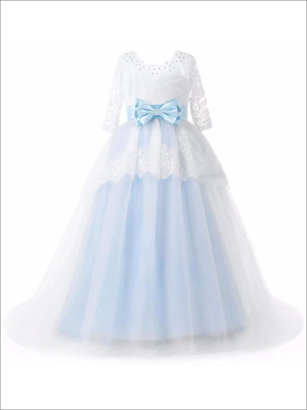 Girls Floral Lace Long Sleeve Flower Girl Dress with Satin Bow Sash - 2T - Girls Gowns