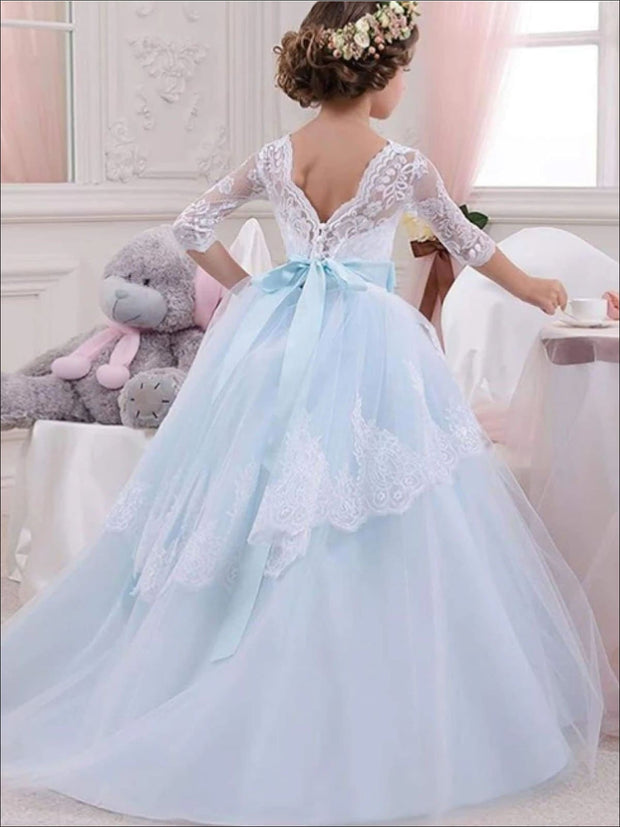 Girls Floral Lace Long Sleeve Flower Girl Dress with Satin Bow Sash - Girls Gowns