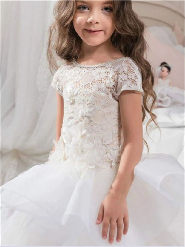 Girls Floral Lace Ruffled Tiered Communion Flower Girl & Pageant Gown - Girls Gowns