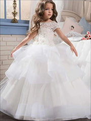 Girls Floral Lace Ruffled Tiered Communion Flower Girl & Pageant Gown - white / 2T - Girls Gowns