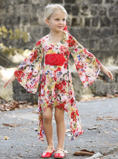 Girls Floral Lace Sidetail Boho Sleeve Dress - Girls fall Dressy Dress