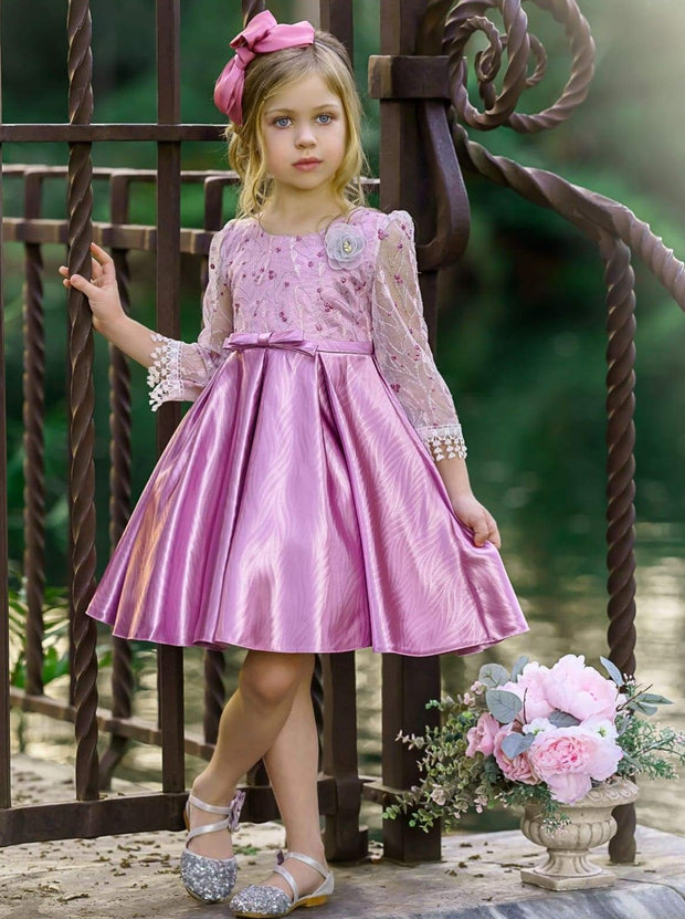 Girls Floral Lace Sleeve Jacquard Dress - Girls Spring Dressy Dress