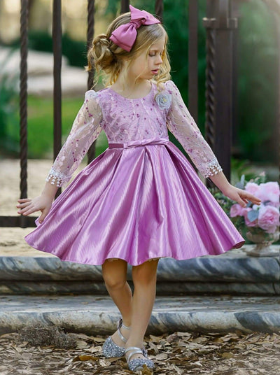 Girls Floral Lace Sleeve Jacquard Dress - Dusty Pink / 3T/4T - Girls Spring Dressy Dress