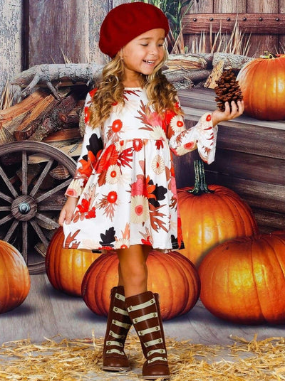 Girls Floral Long Flared Sleeve Dress - Girls Fall Casual Dress