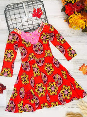 Girls Floral Long Sleeve Scoop Back Dress with Bow - Red / 2T/3T - Girls Fall Casual Dress