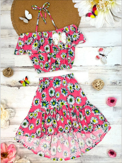 Girls Floral Off the Shoulder Ruffle Trimmed Top & Ruffled Hi-lo Skirt Set - Girls Spring Casual Set