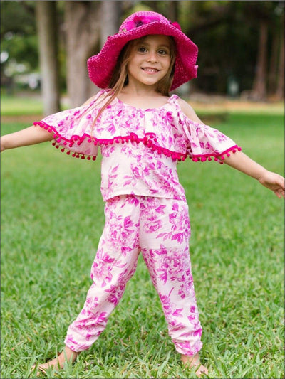 Girls Floral Off The Shoulder Ruffled Top with Pom Pom Trim & Side Ruched Capri Pant Set - Girls Spring Casual Set