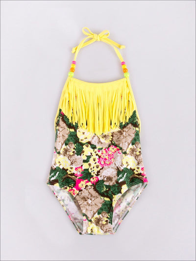 Girls Floral One Piece Swimsuit With Bead Accents & Fringe Bib - Yellow / 2T - Girls One Piece Swimsuit