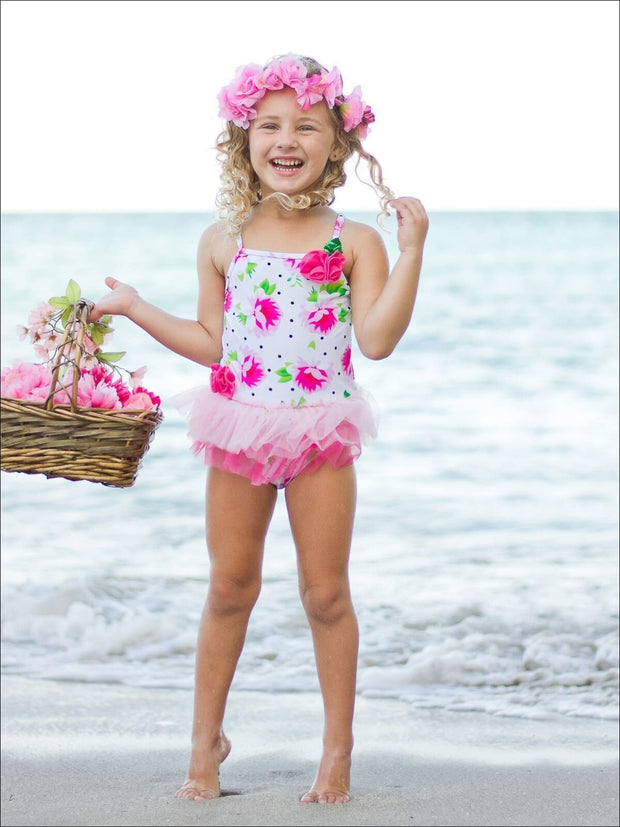 Girls Floral & Polka Dot One Piece with Tiered Mesh Skirt - Girls One Piece Swimsuit