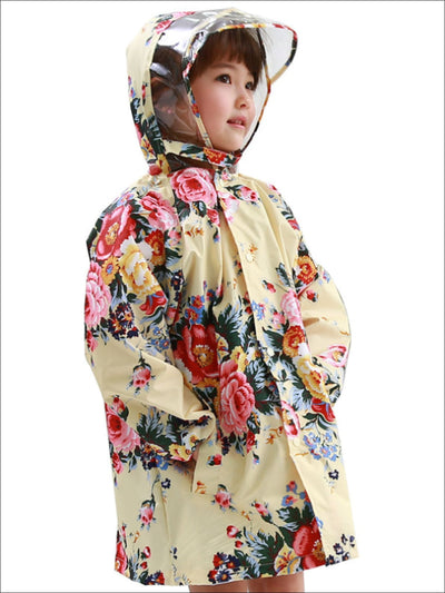 Girls Floral Print Hooded Transparent Raincoat - Girls Raincoat