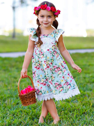Girls Floral Print Lace Trimmed Flutter Sleeve Dress - Blue / 4T - Girls Spring Casual Dress