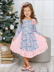 Girls Floral Print Long Sleeve Ruffled Rosebud Side Inserts Flare Dress - Girls Fall Dressy Dress