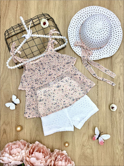 Girls Floral Print Ruffled Tunic with White Shorts & Matching Sun Hat - Pink / 3T - Girls Spring Casual Set