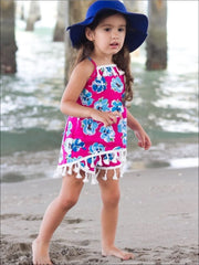 Girls Floral Print Two Piece Set with Tassels - Girls Spring Casual Set