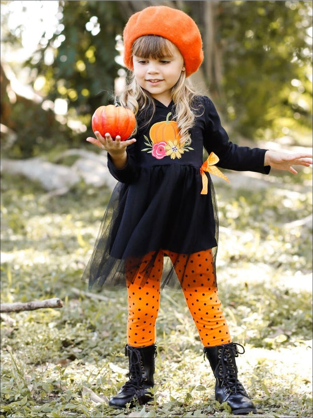 Girls Floral Pumpkin Peplum Tutu Hoodie with Bow & Polka Dot Leggings Set - Girls Fall Casual Set