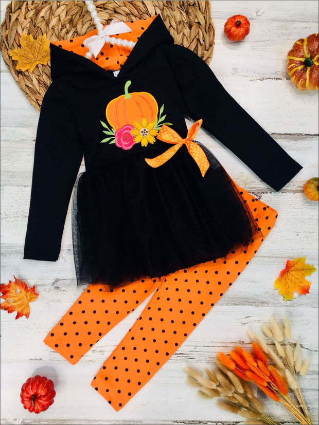 Girls Floral Pumpkin Peplum Tutu Hoodie with Bow & Polka Dot Leggings Set - Black / 2T - Girls Fall Casual Set