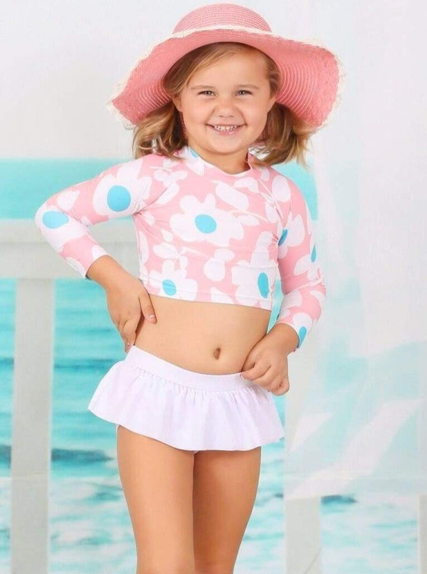 Girls Floral Rash Guard Skirted Swimsuit - Girls Two Piece Swimsuit