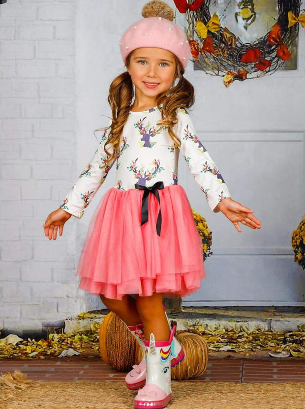 Girls Floral Reindeer Print Long Sleeve Tutu Skirt Dress with Bow - Girls Fall Casual Dress