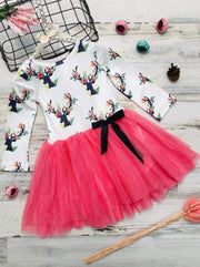 Girls Floral Reindeer Print Long Sleeve Tutu Skirt Dress with Bow - Pink / 2T - Girls Fall Casual Dress