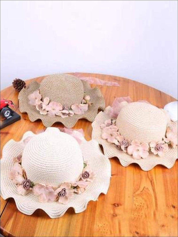 Girls Floral Ruffle Brim Straw Hat - Hats & Caps