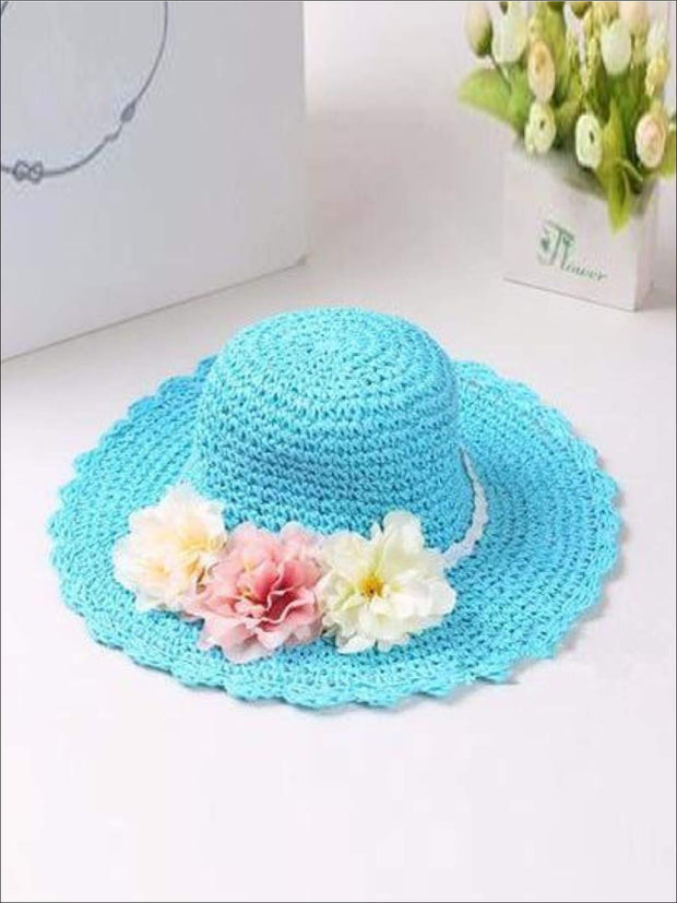 Girls Floral Ruffle Brim Straw Hat - Sky Blue / One - Hats & Caps
