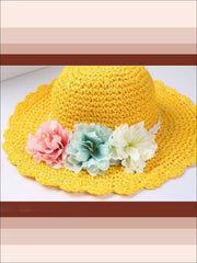 Girls Floral Ruffle Brim Straw Hat - Yellow / One - Hats & Caps