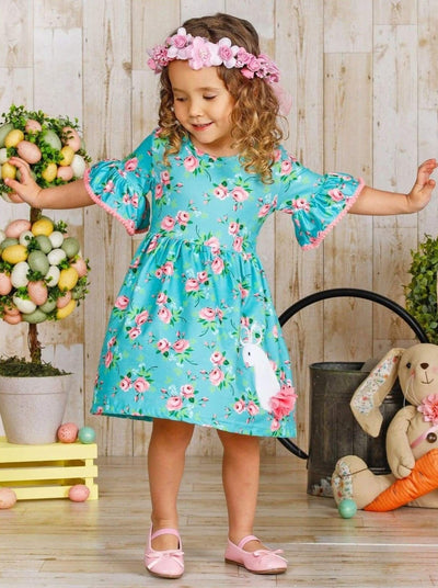 Girls Floral Ruffled Bunny Dress - Girls Spring Casual Dress