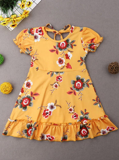 Girls Floral Ruffled Detail Boho Dress - Girls Spring Casual Dress