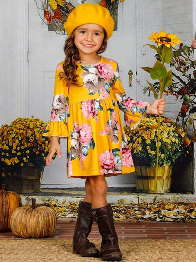 Girls Floral Ruffled Long Sleeve Dress - Girls Fall Casual Dress