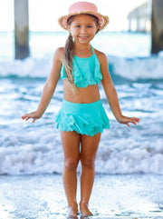 Girls Floral Ruffled Skirted Bottom Two Piece Swimsuit - Girls Two Piece Swimsuit