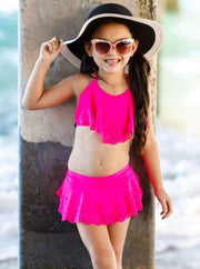 Girls Floral Ruffled Skirted Bottom Two Piece Swimsuit - Fuchsia / 8Y - Girls Two Piece Swimsuit