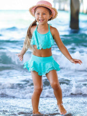 Girls Floral Ruffled Skirted Bottom Two Piece Swimsuit - Mint / 8Y - Girls Two Piece Swimsuit