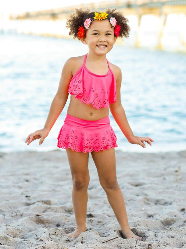 Girls Floral Ruffled Skirted Bottom Two Piece Swimsuit - Pink / 8Y - Girls Two Piece Swimsuit
