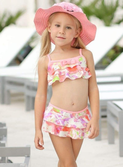 Girls Floral Ruffled Skirted Swimsuit with Bow Detail - Girls Two Piece Swimsuit