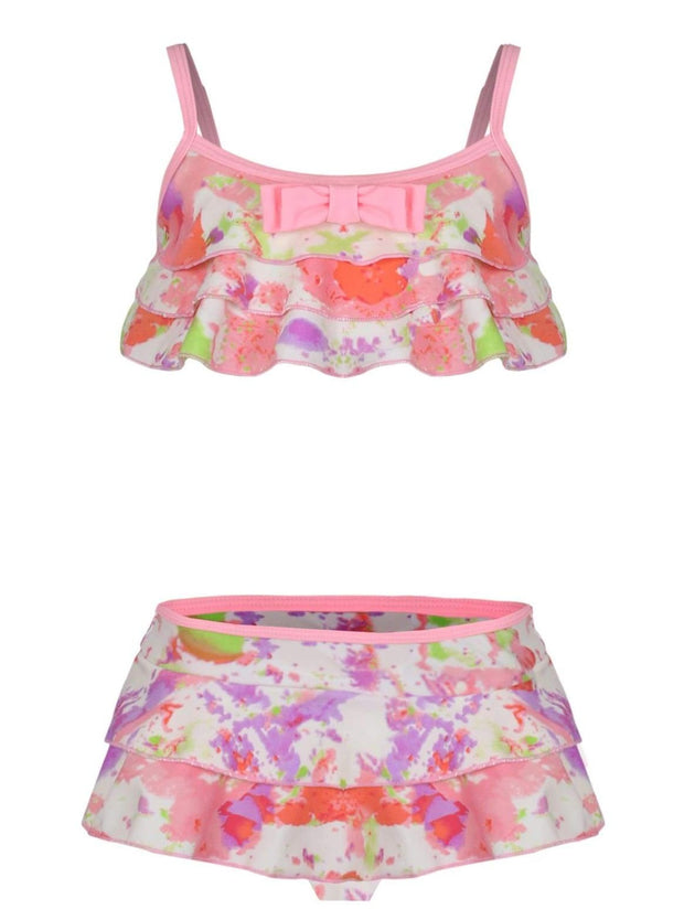 Girls Floral Ruffled Skirted Swimsuit with Bow Detail - Multicolor / 3T - Girls Two Piece Swimsuit