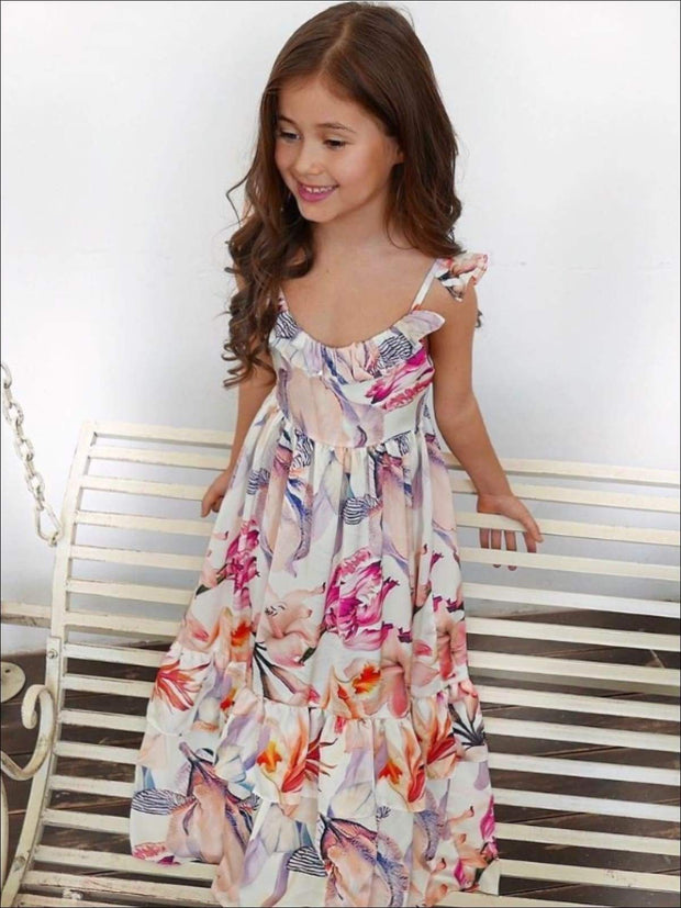 Girls Floral Ruffled Sleeve Maxi Dress - Girls Spring Casual Dress