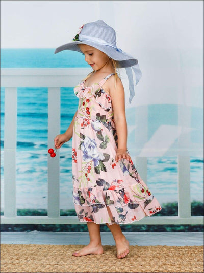 Girls Floral Ruffled Spaghetti Strap Dress - Girls Spring Casual Dress