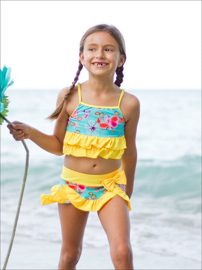 Girls Floral Ruffled Tankini Two Piece Swimsuit - Girls Two Piece Swimsuit