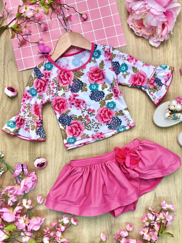 Girls Floral Ruffled Top and Skirted Bottom Rash Guard Two Piece Swimsuit - Pink / 3T/4T - Girls Two Piece Swimsuit