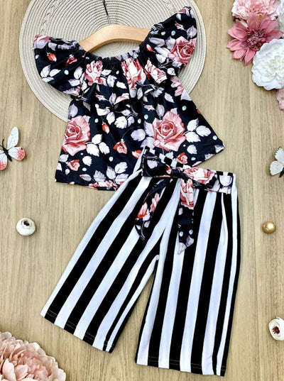 Girls Floral Ruffled Top and Striped Sashed Palazzo Pants Set - Girls Spring Casual Set