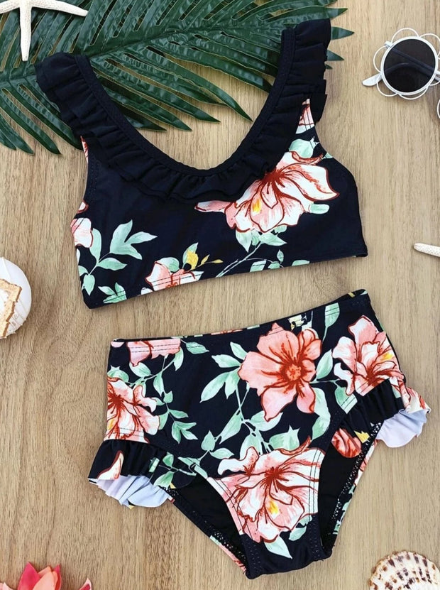 Girls Floral Ruffled Two Piece Swimsuit - Black / 4T - Girls Two Piece Swimsuit